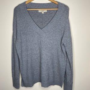 LOFT Gray V-neck Sweater